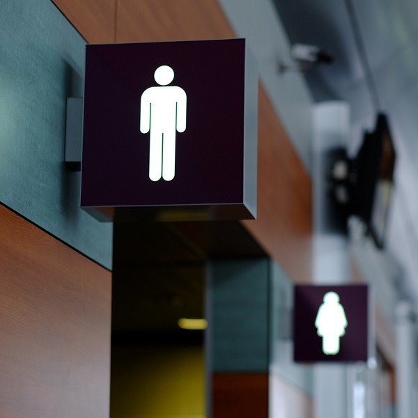 Lit up signs for restrooms. All about restroom cleaning products.