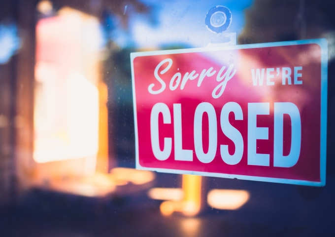 Restaurant sign - sorry we are closed for cleaning